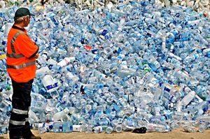 Mountain of water bottles